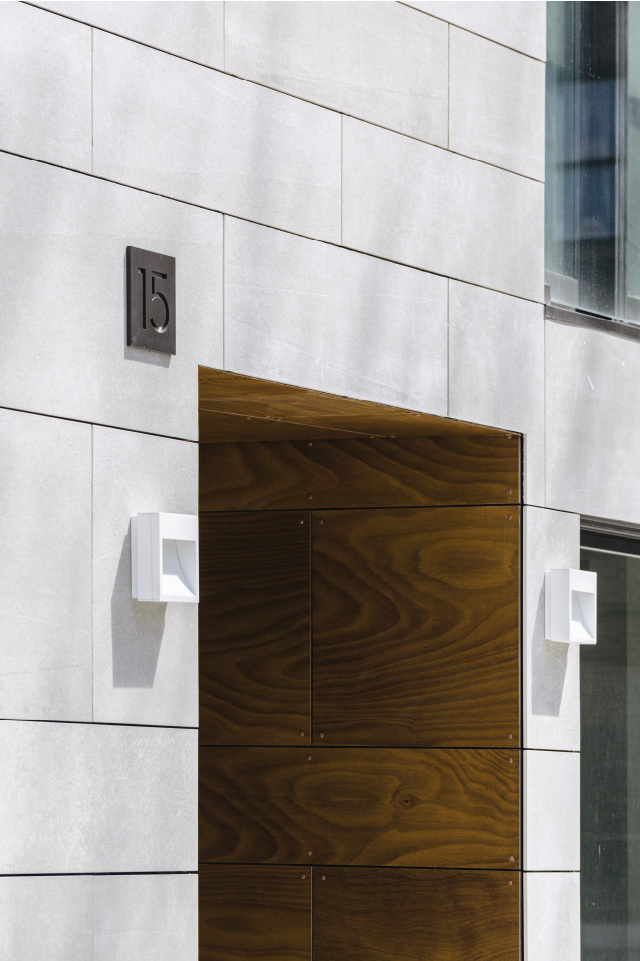 15 East 19 Street Porcelain facade entry with wall mounted lights