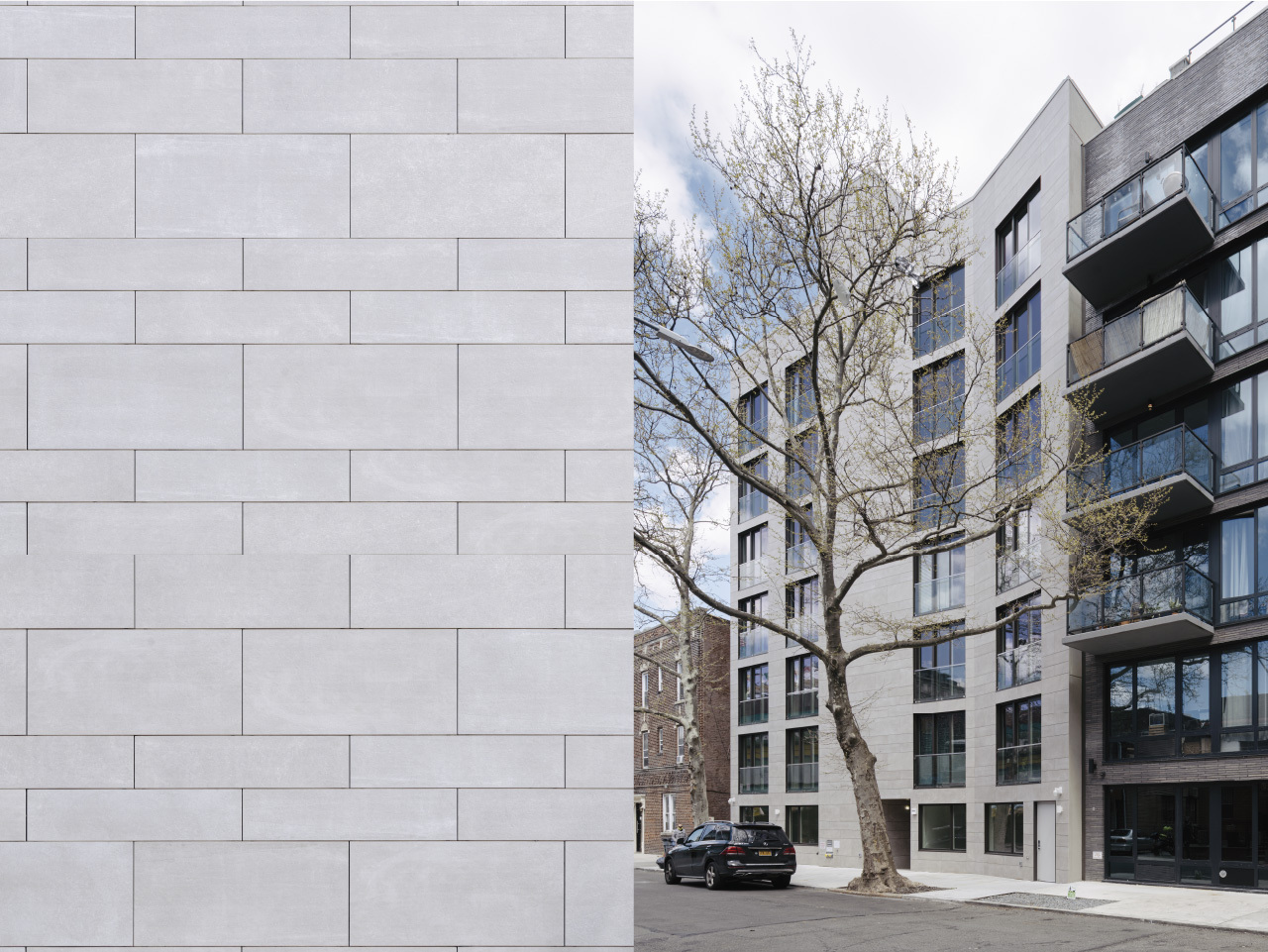 15 East 19 Street Staggered pattern large format porcelain panels at Porcelain cladding facade multi family building
