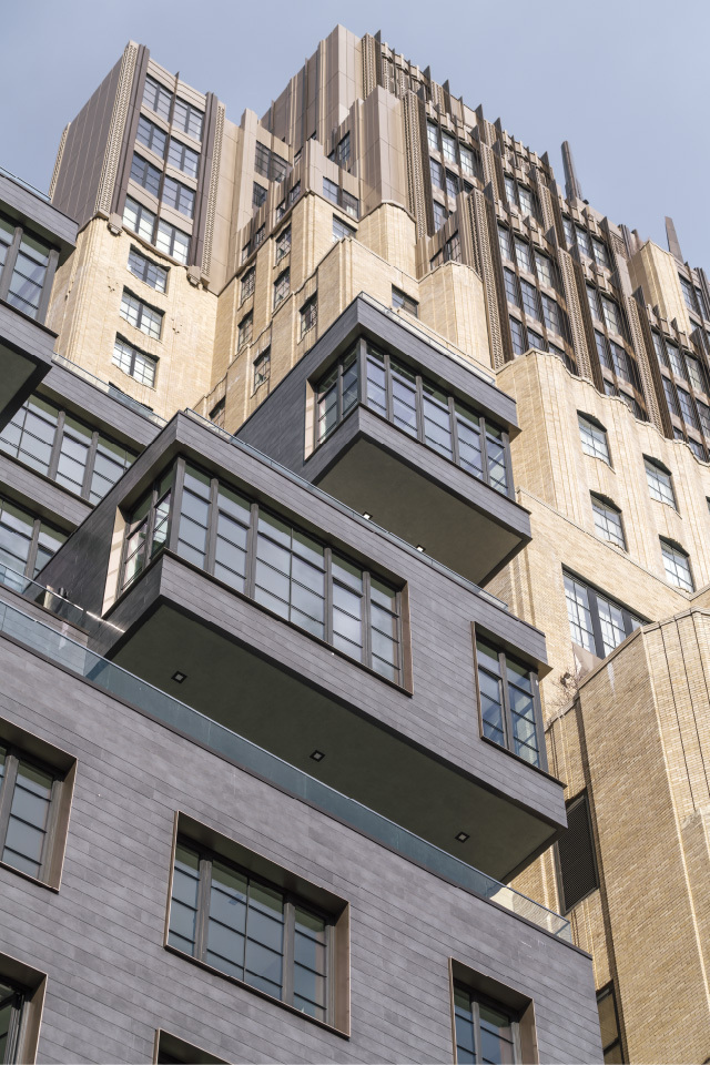 221 West 17 Street Cantilevered masses with porcelain cladding