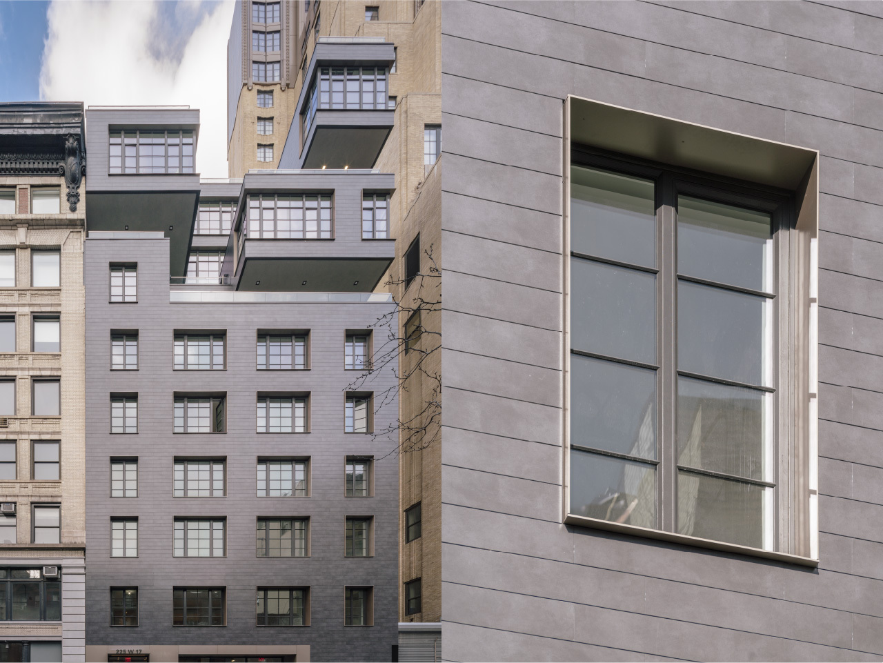 221 West 17 Street Street facade with porcelain cladding and Metal window trim at porcelain facade