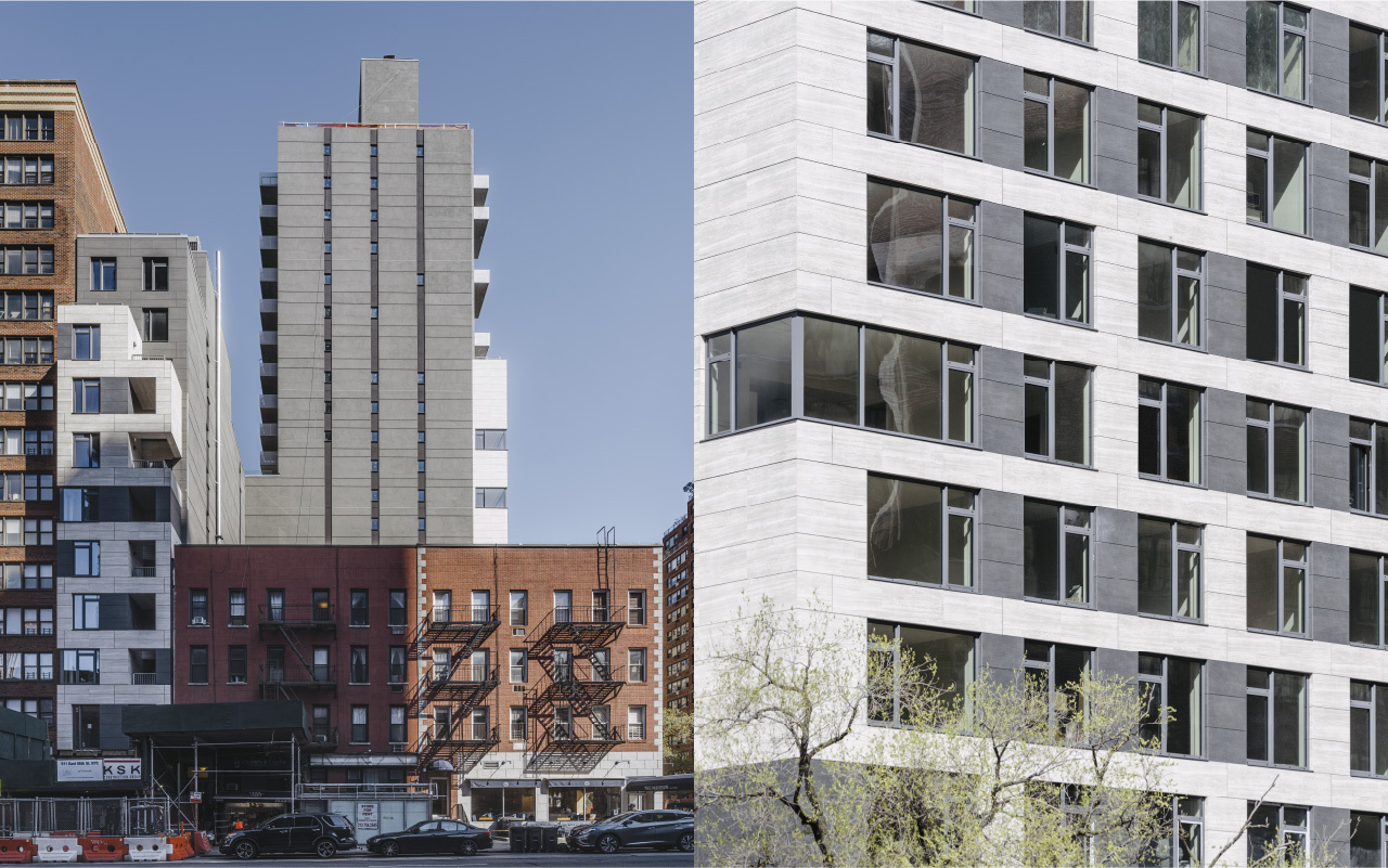 511 East 86 Street Rear facade with porcelain cladding and dark gray porcelain cladding accents